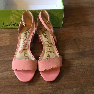 Pink suede Sam Edelman block heel sandals